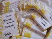 Čokoládové svatební jmenovky na přání -žluté,