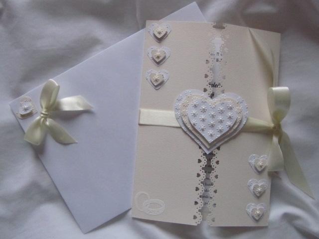 Svatební blahopřání- Srdíčka- Ivory, champagne 1. - Obrázek č. 1