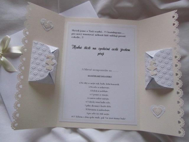 Svatební blahopřání- Srdíčka- Ivory, champagne 1. - Obrázek č. 4