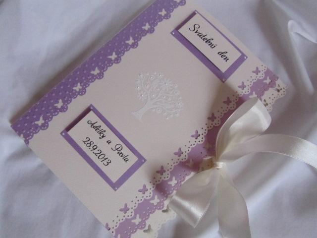 Svatební desky- butterfly Ivory, champagne lila - Obrázek č. 2