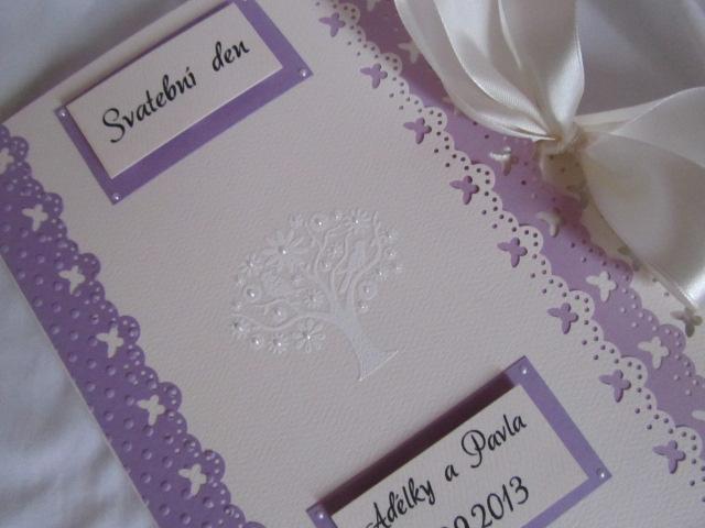Svatební desky- butterfly Ivory, champagne lila - Obrázek č. 3