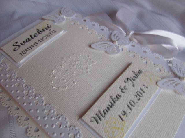 Svatební kniha hostů- butterfly champagne bílá - Obrázek č. 1