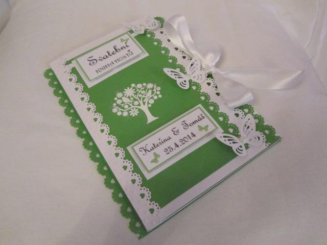 svatební kniha hostů zeleno-bílá - Obrázek č. 1