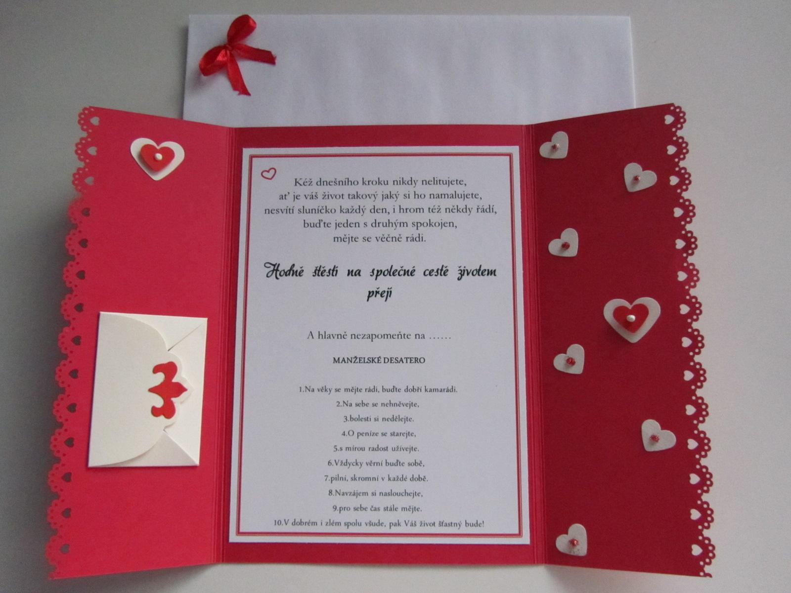 svatební blahopřání- SRDÍČKA- červené - Obrázek č. 3