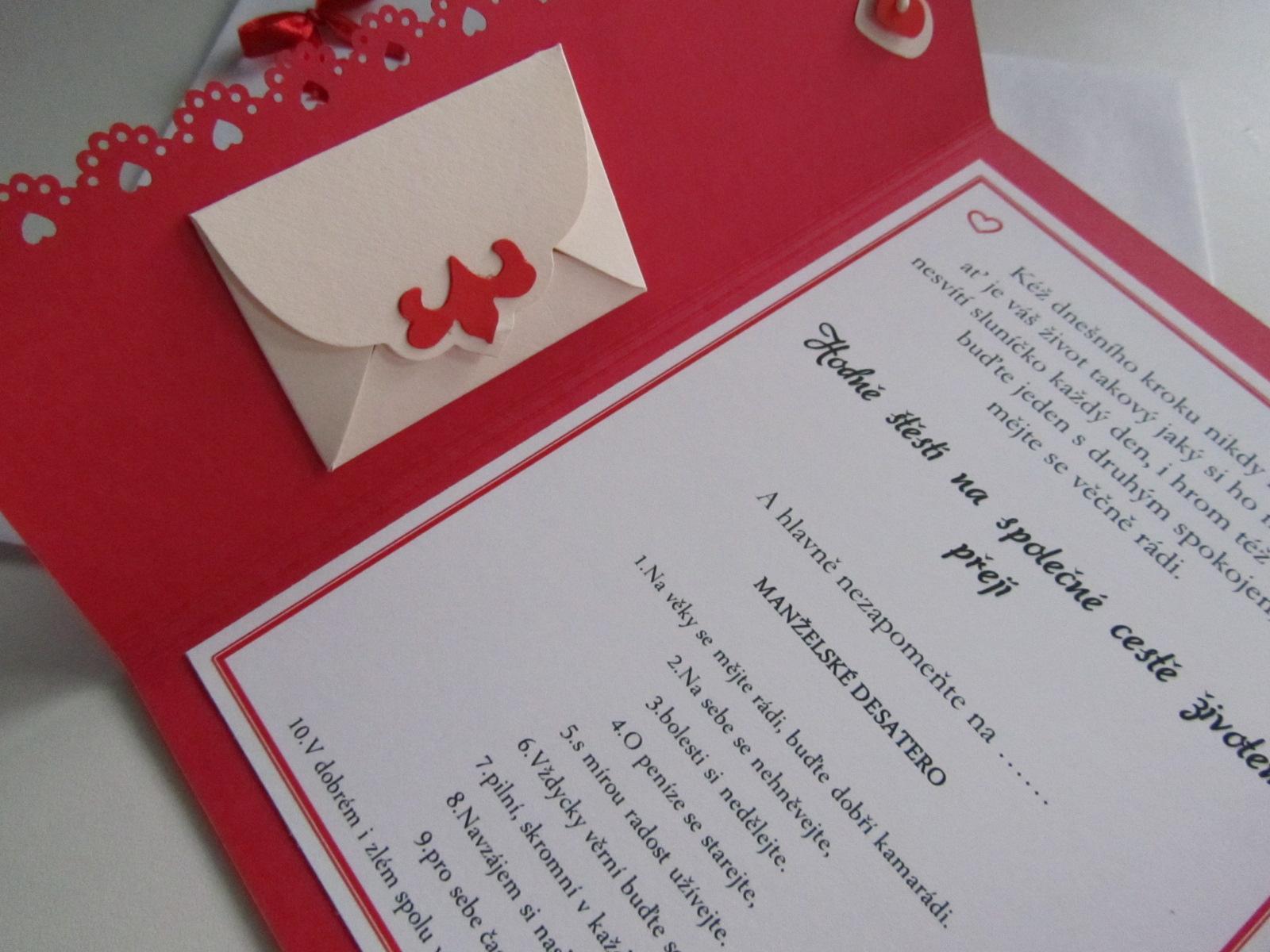 svatební blahopřání- SRDÍČKA- červené - Obrázek č. 4