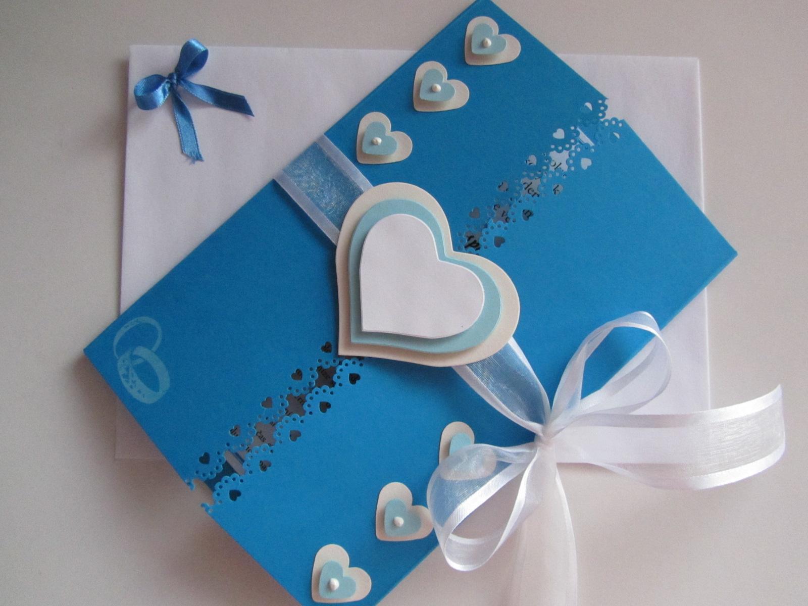svatební blahopřání- SRDÍČKA- modré - Obrázek č. 1