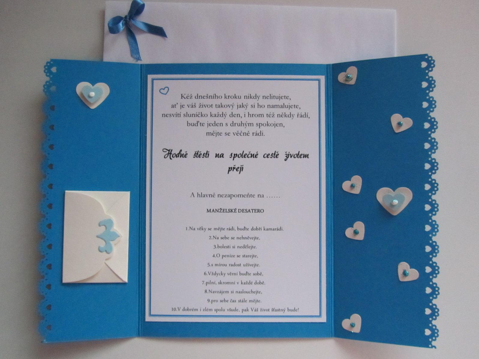 svatební blahopřání- SRDÍČKA- modré - Obrázek č. 2