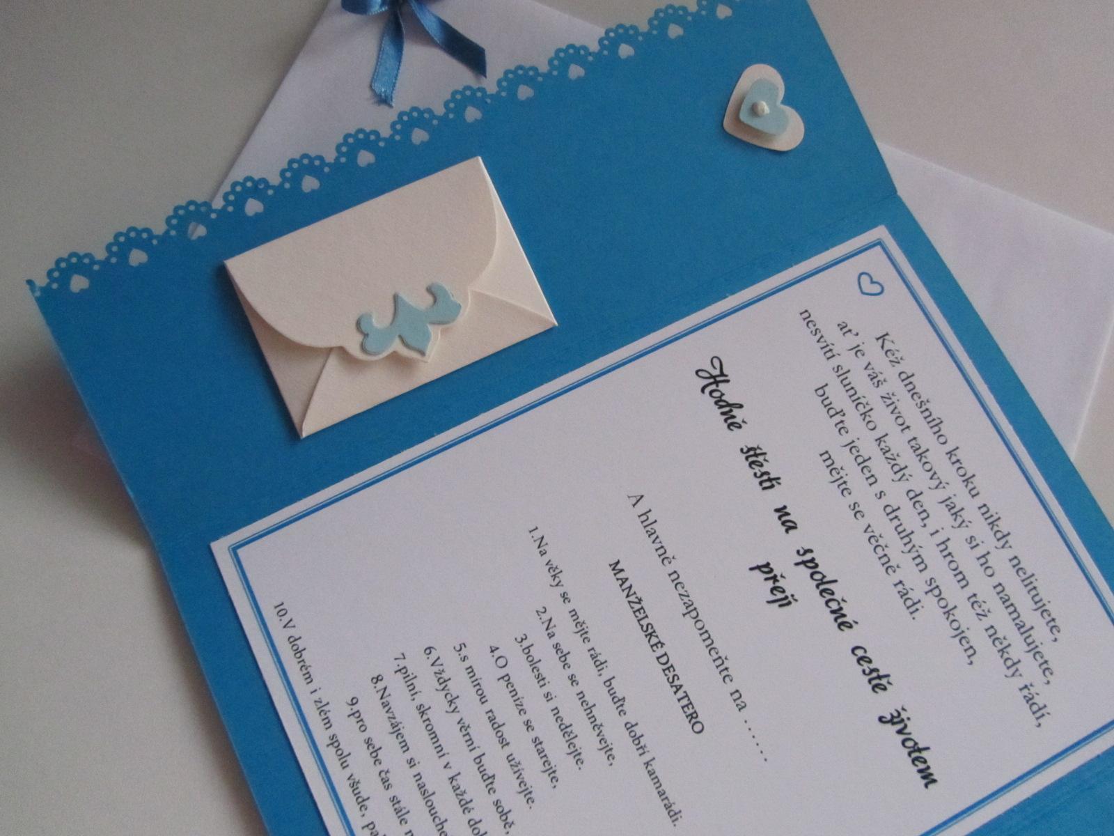 svatební blahopřání- SRDÍČKA- modré - Obrázek č. 3