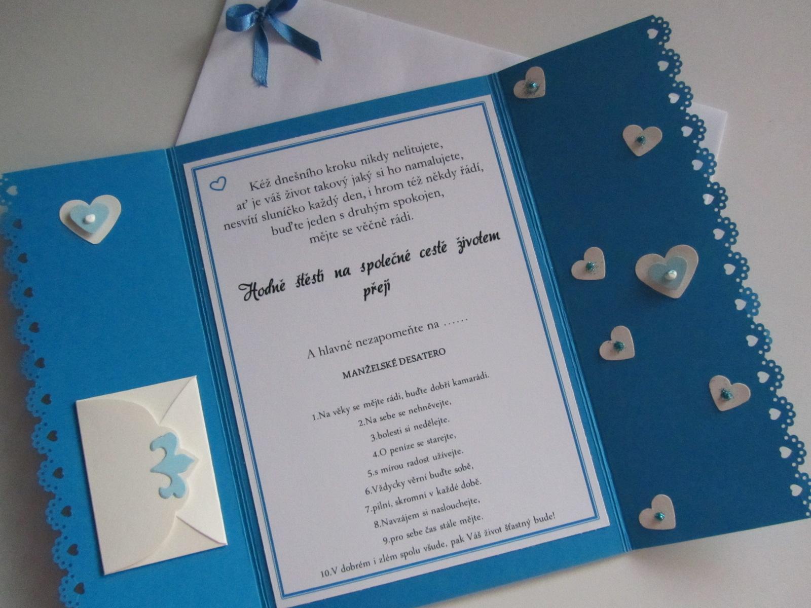 svatební blahopřání- SRDÍČKA- modré - Obrázek č. 4