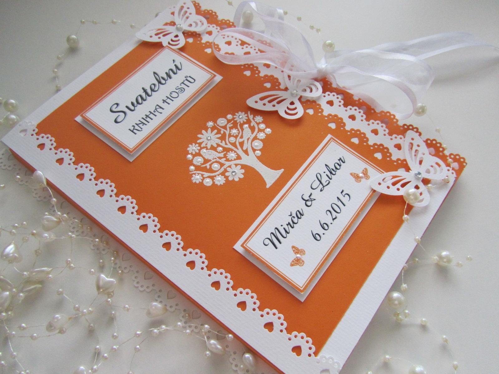 Svatební kniha hostů oranžová + krabička - Obrázek č. 1