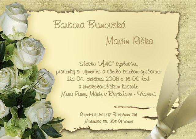 Barbora Brunovská{{_AND_}}Martin Riška - naše svadobné oznámenie-krásne :)
