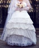 taftové svadobné šaty, 48