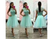 Midi sukňa a top mentolovej farby, S