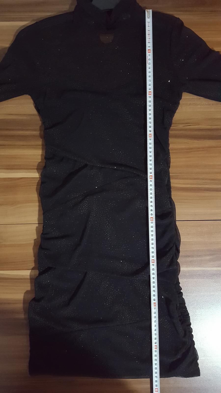 Elegantní černé šaty na tělo s třpytky - Obrázek č. 2