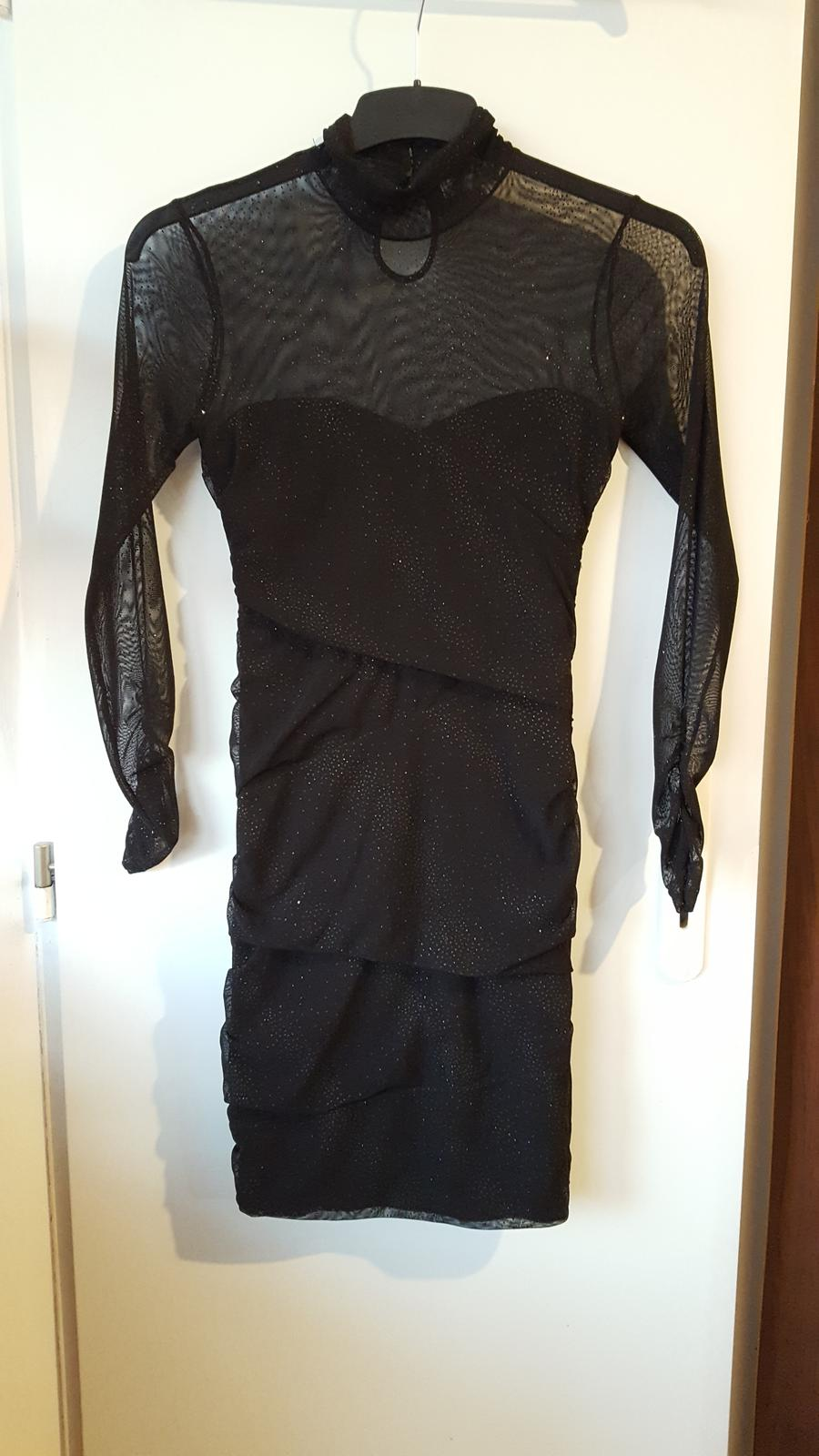 Elegantní černé šaty na tělo s třpytky - Obrázek č. 1