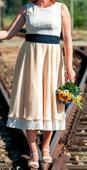 netradiční svatební šaty - retro styl (bílo-žluté), 40