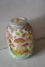 4l sklenená fľaša na sušené hríby s 3d farebným povrchom