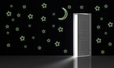 Svítící - obrysy hvězd a měsíce