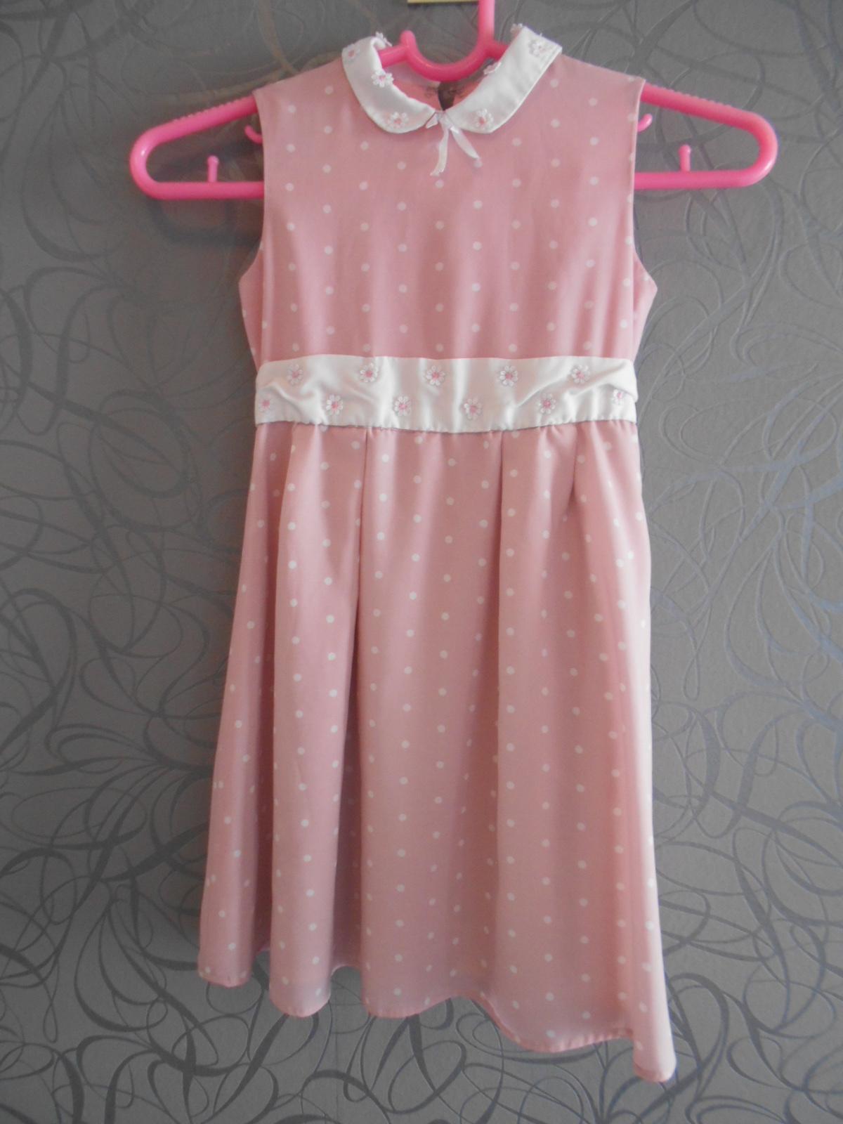 růžové šaty puntík 110-116 - Obrázek č. 1