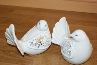 holubice ako dekoracia na svadobny stol
