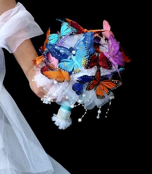 Svatební kytice Bjorg butterfly + korsáž - Obrázek č. 5