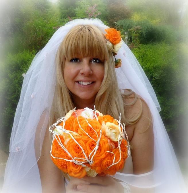 Svatební kytice Pomerančová + korsáž + spona do vlasů - Obrázek č. 1