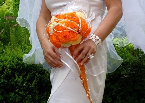 Svatební kytice Pomerančová + korsáž + spona do vlasů - Obrázek č. 2