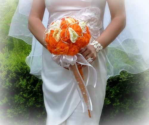 Svatební kytice Pomerančová + korsáž + spona do vlasů - Obrázek č. 4