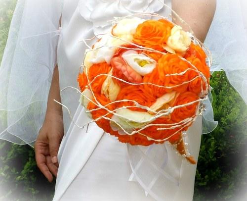 Svatební kytice Pomerančová + korsáž + spona do vlasů - Obrázek č. 5