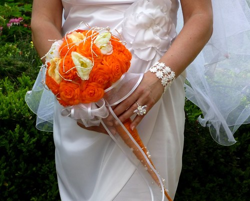 Svatební kytice Pomerančová + korsáž + spona do vlasů - Obrázek č. 6