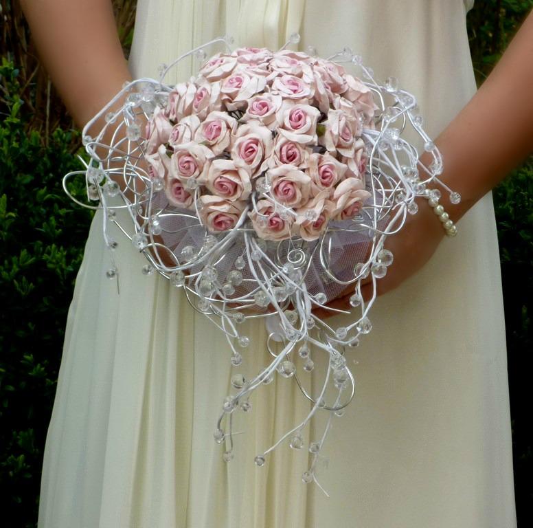 Svatební kytice Růže paper& crystal - Obrázek č. 1
