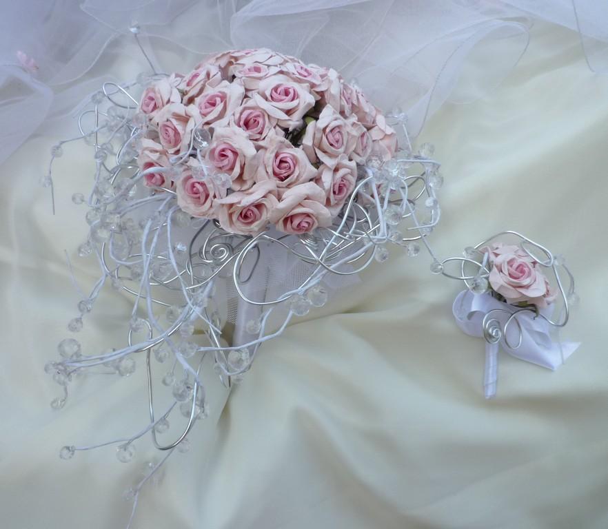 Svatební kytice Růže paper& crystal - Obrázek č. 2