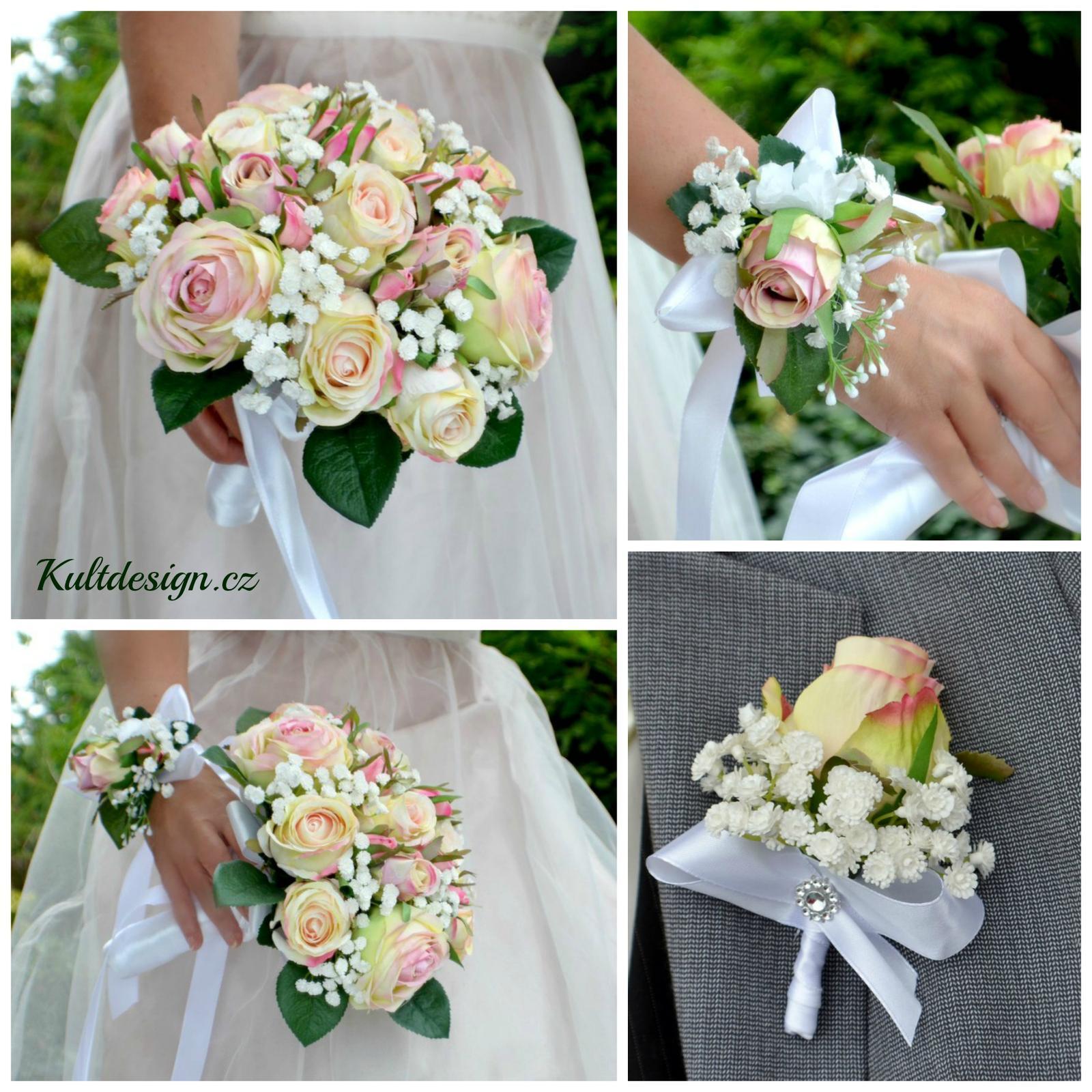 Svatební kytice z umělých květin Kultdesign - www.kultdesign.cz