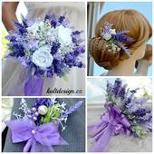 Levandulová umělá kytice, korsáž a spona do vlasů,
