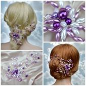 Svatební spona do vlasů fialová,
