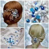 Svatební spona do vlasů modrá,