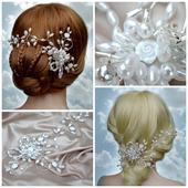 Svatební spona do vlasů bílá,
