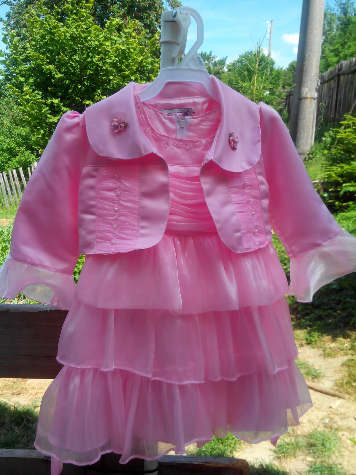Růžové šaty s bolerkem vel. 86/92. - Obrázek č. 1
