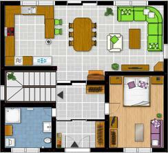 Prizemie - navrh c.1 (pod schodami je mala spajzicka a v druhej chodbe je v skrini skryty komin od krbu :))