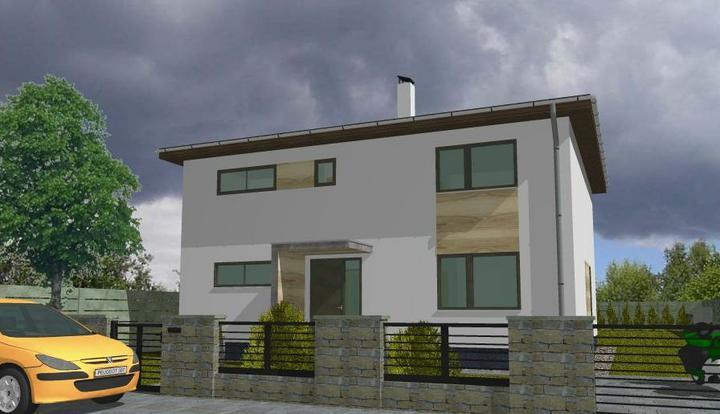 Ako si staviame sen - projekt & vizualizácie - Vizka vstupnej strany - nebude drevo, ale tehlove pasiky