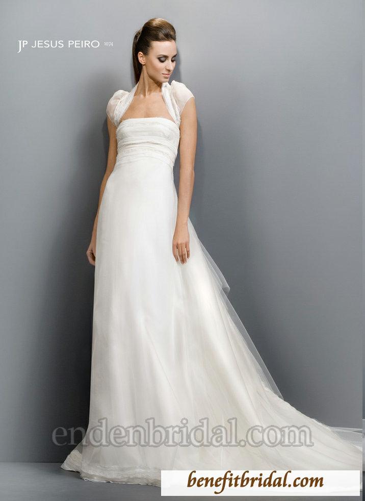 Smetanové šaty Jesus Peiro s krásnou vlečkou - Obrázek č. 1