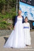 šaty pro družičku s modro-fialovými ozdobami, 134