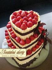 Náš dort - nemáme rádi marcipán :-) a hore budou holoubci :-)