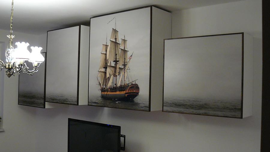 Fototapety - realizace zakázek - Samolepíci tapeta na nábytku
