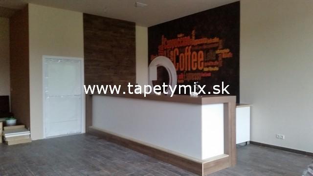Fototapety - realizace zakázek - Tapeta COffee na míru v interiéru