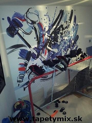 Fototapety do dětského pokoje - relaizace tapety hokejista