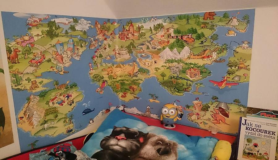 Fototapety do dětského pokoje - relaizace tapety - dětská mapa světa