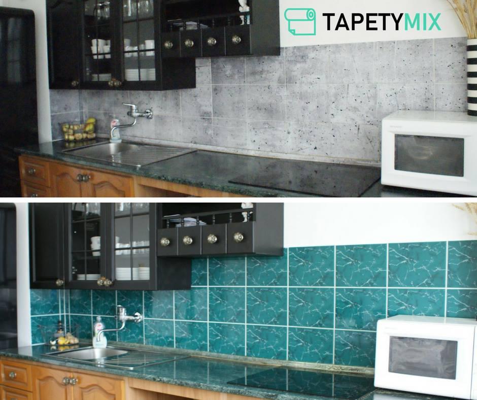 Tapety imitace přírodních materiálu - tapeta imitace beton - Před a Po