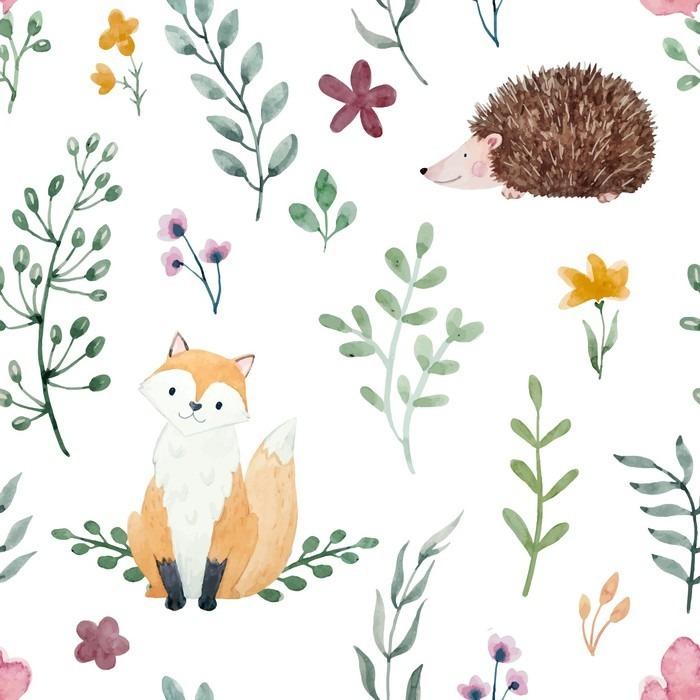 Fototapety do dětského pokoje - fototapeta Líška a ježek
