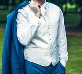 Svadobná vesta, kravata - veľkosť M, 48
